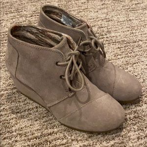 Toms wedge lace up. Taupe suede. 6.5. Worn once